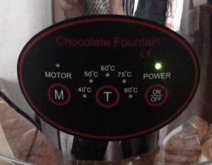 Commercial fondue fountain control panel