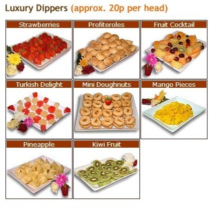 luxury chocolate fountain dippers